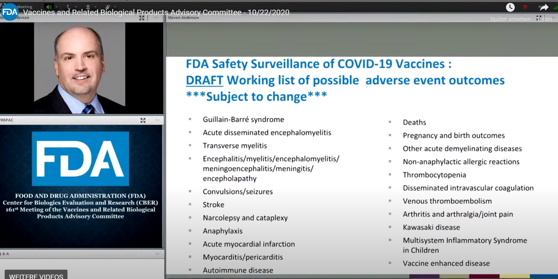 FDA Safety Surveillance of COVID-19 Vaccines: DRAFT Working list of possible adverse event outcomes
